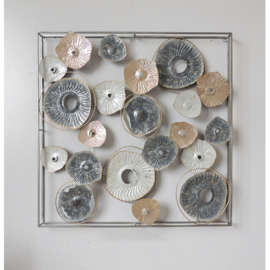 Metalen wanddecoratie - cirkels in frame