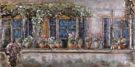 60 x 150 cm - 3D art Schilderij Metaal -  Kozijn met bloemen - handgeschilderd