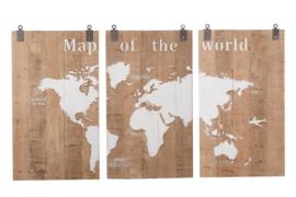 Houten kunst - Wanddecoratie hout - 3 luik - wereldkaart