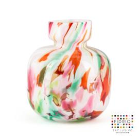 Design vaas Fidrio - glazen sculptuur - Mixed Colours - Olympia - glas - mondgeblazen - 25 cm hoog