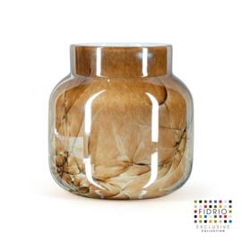 Design vaas Fidrio - glas kunst sculptuur - bloom - Marmi - mondgeblazen - 20 cm hoog --