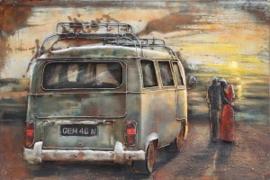 120 x 80 cm - 3D art Schilderij Metaal volkswagen bus T2 - oldtimer - handgeschilderd