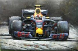 120 x 80 cm - 3D art Schilderij Metaal formule 1 auto - handgeschilderd