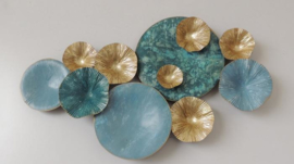 Metalen wanddecoratie - wanddeco - blauwe cirkels