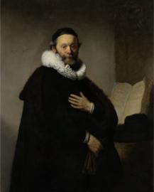 Foto op hout - Portret van Johannes Wtenbogaert