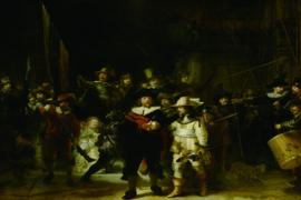 Glasschilderij - Nachtwacht - 120x80 cm