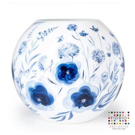 Design vaas Fidrio - glas kunst sculptuur - delfts blauw - handgeschilderd - 40 cm diep