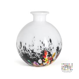Design vaas Fidrio - glas kunst sculptuur - Bolvase - coral - mondgeblazen - 19 cm diep --
