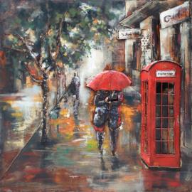 100 x 100 cm - 3D art Schilderij Metaal - Regen - Londen - stadsgezicht handgeschilderd