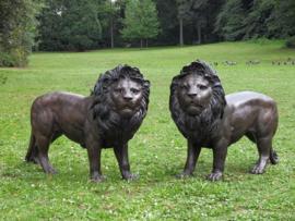 Tuinbeeld - groot bronzen beeld - Leeuwenpaar - Bronzartes