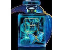 60 x 80 cm - Glasschilderij - parfumfles - Chanel No 5 - met goudfolie - foto print op glas