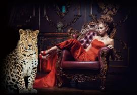 60 x 110 cm - Glasschilderij - Fotomodel met luipaard - schilderij fotokunst - foto print op glas