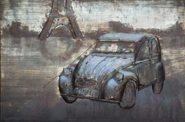 120 x 80 cm - 3D art Schilderij Metaal - Blauwe auto Parijs Citroën 2cv - oldtimer - handgeschilderd