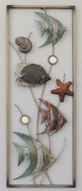 28 x 73 cm - wanddecoratie schilderij metaal - Frame Art - Vissen