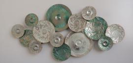 Metalen wanddecoratie - wanddeco - groene cirkels