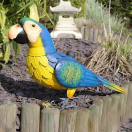 Beeld metaal - Tuinbeeld - beeld blauwe papegaai - 33 cm hoog