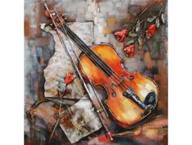 80 x 80 cm - 3D art Schilderij Metaal - viool - muziek handgeschilderd