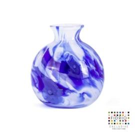Design vaas Fidrio - Bolvase Delfts blue - gekleurd glas - mondgeblazen - 11 cm diep