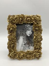 Fotolijst - antiek - rijk versierde barok lijst - kunsthars goud - rozen - binnenmaat 10x15 cm --