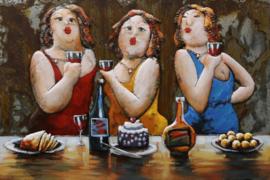 120 x 80 cm - 3D art Schilderij Metaal - dikke dames - handgeschilderd