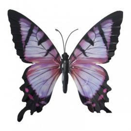 Wanddecoratie 3D metaal vlinder paars
