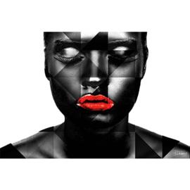 120 x 80 cm - Schilderij lippen Dibond - Foto op aluminium - Vrouw met rode lippen -  fotokunst - Mondiart