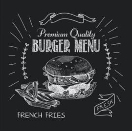 60 x 60 cm - Plexiglas Schilderij - Burger Menu - reclame kunst afbeelding op acryl