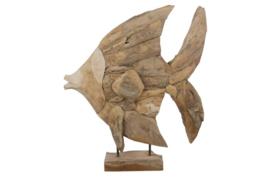 Houten kunst - Beeld - sculptuur - houten vis - drijfhout naturel