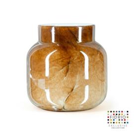 Design vaas Fidrio - glas kunst sculptuur - bloom - Marmi - mondgeblazen - 15 cm hoog --