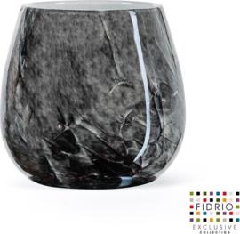 Design vaas Fiore - Fidrio NERO zwart - Bloemenvaas glas, mondgeblazen - hoogte 15 cm