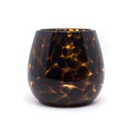 Design vaas Fidrio - glas kunst sculptuur - Leppard - Fiore - mondgeblazen - 12 cm hoog --