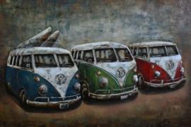120 x 60 cm - 3D art Schilderij Metaal Auto's, Hippie busje's - metaalschilderij Volkswagen T1 - handgeschilderd