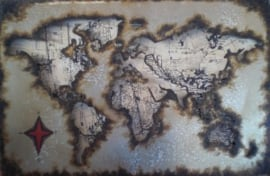 120 x 80 cm - 3D art Schilderij Metaal - Wereldkaart - handgeschilderd