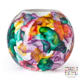 Design vaas Fidrio - glas kunst sculptuur - Bottle flowers - handgeschilderd - 40 cm diep
