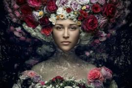 120 x 80 cm - Glasschilderij - schilderij fotokunst - vrouw - bloemen - foto print op glas --