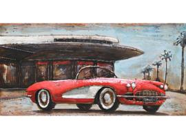 140 x 70 cm - 3D art Schilderij Metaal - chevrolet corvette - handgeschilderd