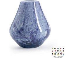 Design vaas Venice - Fidrio PASTEL BLUE - glas, mondgeblazen bloemenvaas - diameter 16 cm hoogte 20 cm