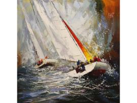 120x120 cm - Olieverf schilderij - schilderij zeilboten - handgeschilderd