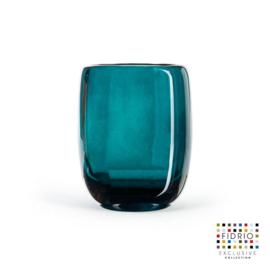 Design vaas  - Fidrio LAGOON - glas, mondgeblazen bloemenvaas - diameter 13 cm hoogte 16 cm