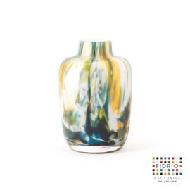 Design vaas Fidrio - glas kunst sculptuur - Toronto colori - mondgeblazen - 12,5 cm hoog --