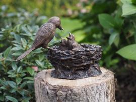 Tuinbeeld - Bronzen beeld - Vogel nestje - Bronzartes