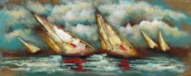 150x60 cm - 3D art Schilderij Metaal - Zeilboten Zee - handgeschilderd