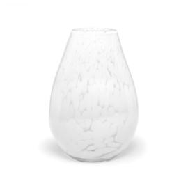 Design vaas Fidrio - glazen sculptuur - White Granulat - organic - 30 cm hoog - mondgeblazen