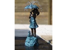 Tuinbeeld - bronzen beeld - Meisje onder paraplu / fontein - Bronzartes - 50 cm hoog