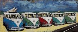 150 x 60 cm - 3D art Schilderij Metaal - SAMBA Bussen op het strand Volkswagen T1 - oldtimer - metaalschilderij - handgeschilderd