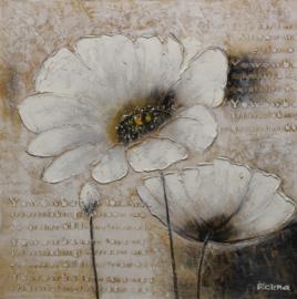 100 x 100 cm - Olieverfschilderij - Witte Bloemen - natuur handgeschilderd