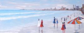 150 x 60 cm - Olieverfschilderij - Strand Stad - stadsgezicht handgeschilderd