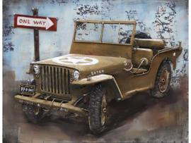 80 x 60 cm - 3D art Schilderij Metaal - Willys Jeep - oldtimer - handgeschilderd