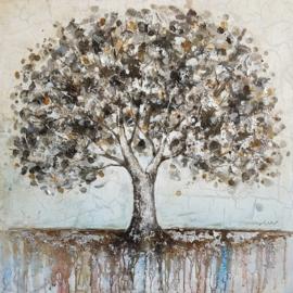 100 x 100 cm - Olieverfschilderij - Boom - natuur - natuur handgeschilderd