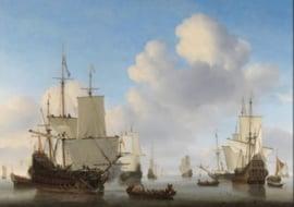 Plexiglas Schilderij - Hollandse schepen op een kalme zee - 120x80 cm